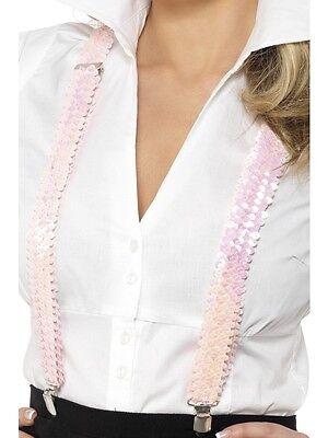 Pink Sequin Braces Gangster 1920's 1950's Schoolgirl Braces - Ladies Fancy - 1950s Gangster