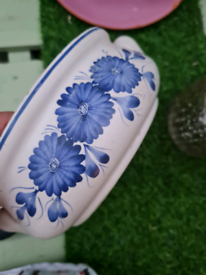 White and Blue ceramic flower pot for sale.