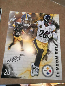 NFL (2) Le'Veon Bell Autographed Pittsburgh Steelers Huge Photos