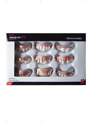Schachtel mit 9 gefälschten Gummi Zähne & VAMPIR Zähne HALLOWEEN UNISEX