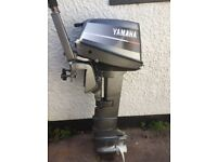 Yamaha Mariner 8hp long shaft 2 stroke outboard boat engine with tank and line