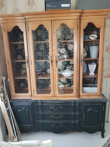 FRENCH PROVINCIAL CHINA CABINET BASE AND HUTCH