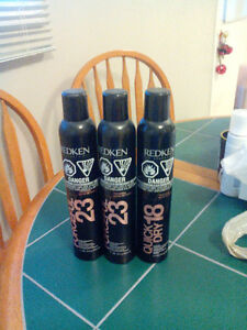 Forceful 23 and quick dry 18 hairspray