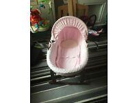 Pink Claire de lune Moses basket with rocking stand