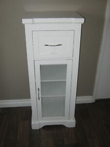 Tall white wood side table with drawer and storage