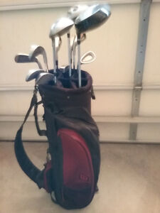 Set of clubs+bag. Left-handed iron set. 50 in. putter.Golf shoes