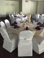 CHAIR COVERS, SASHES, LINENS, CENTERPIECES FOR RENT