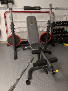 Used Exercise Bench and Olympic Bar weights incl Curved Bar SALE