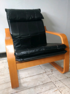 Ikea Black Leather Poang Chair