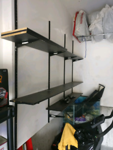 Garage storage shelving system with all hardware, dual track