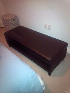 Leather Bedroom Bench with Storage