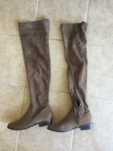 Brown swede thigh high boots