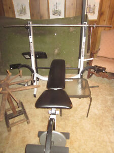 Weight Bench - Exercise Station + Weights