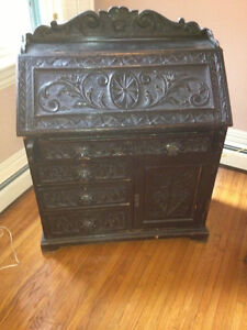 Antique Black Oak Writing Desk