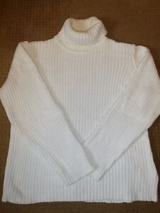 Cotton Ginney White T-Neck Sweater XL