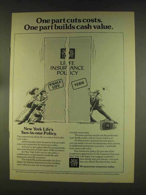 1976 New York Life Insurance Ad - Cuts Costs