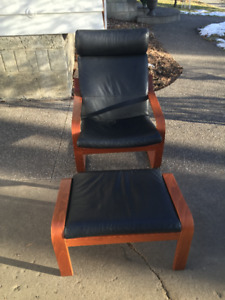 IKEA Poang Arm Chair and Ottoman - Black Leather
