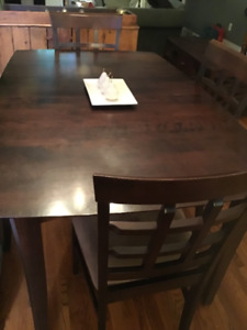 Dining Table with Extension and 4 Chair Set