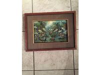 Small framed Chinese oil on board, signed Somkool