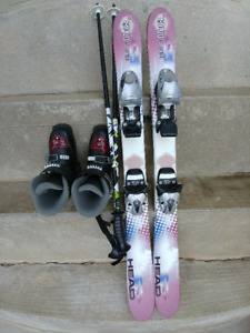Head Mojo kids 96cm skis with bindings, poles, and boots