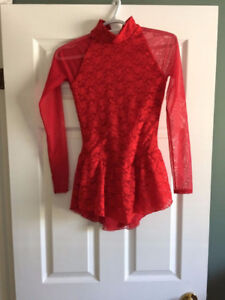 Red figure skating dress ladies small