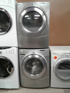 """set washer/dryer whirlpool front load grey 27"""""""