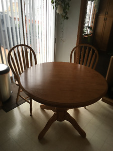 Solid Oak Round Table and Chairs