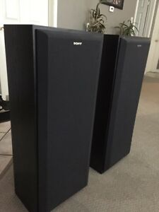2 all black Sony speakers mint condition Kitchener / Waterloo Kitchener Area image 1