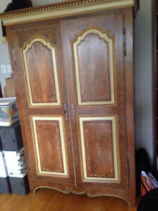 Louis XV pine armoire -hand made and hand painted