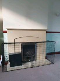 Fireplace stone hearth with gas fire