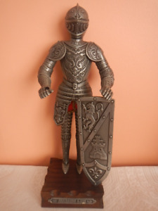 Medieval Knight in Armor Suit Metal Statue on Wood Base