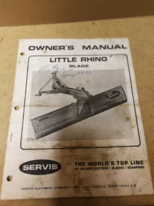 1972 SERVIS LITTLE RHINO BLADE OWNERS MANUAL