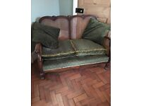 Lovely Antique Sofa in Oak and Rattan