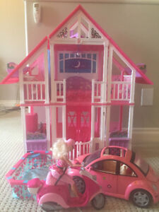 Barbie house, Car, Pool, Scooter, horses, barbies and clothes