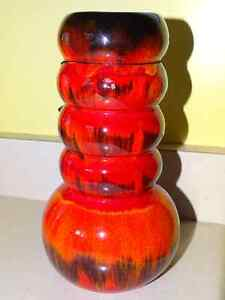 PINE POTTERY CATERPILLAR Red Flambe Vase