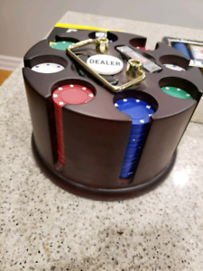 Poker Chips, holder, cards and book