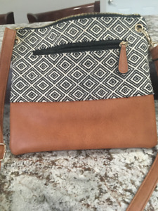 ladies brown leather and cloth purse by spring