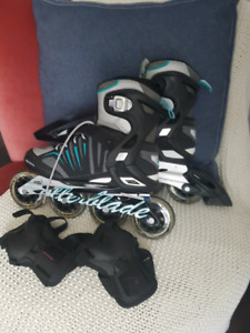 Rollerblades and wrist guards