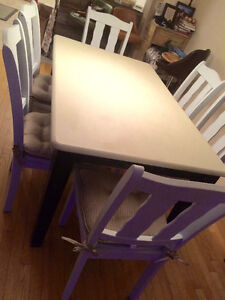 Painted dining table with six chairs