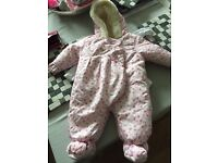 Baby girl snow suit. 0-3 months
