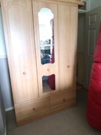 2_doored 2 drawered mirrored wardrobe