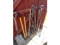 Garden items and lawnmower