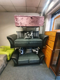 Brand new ex display 3 &2 seater sofa in black &grey fabric £499