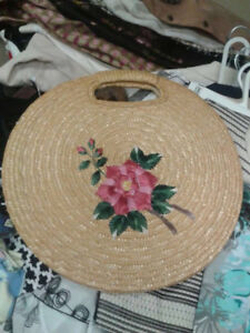 Wicker and Embroidered Bag