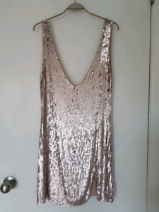 Free People rose gold plunging neck cocktail dress - small