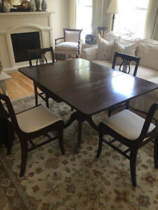 Duncan Phyfe Wood Dining Table and Chairs