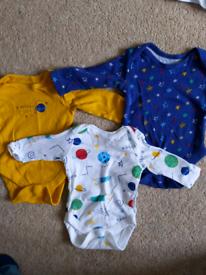 0-1month long sleeve baby vests bundle