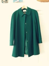 Turquoise 100% wool coat by Eastex