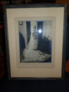 Vintage possibly 1920 wedding photo in wood frame