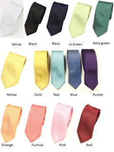 NEW MENS YOUTH SLIM PLAIN NECKTIES  BOW TIES PARTY